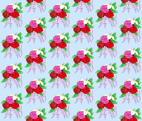 Bouquet of Roses- Light Blue Background fabric by essieofwho on Spoonflower - custom fabric
