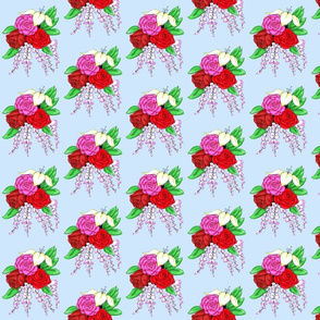 Bouquet of Roses- Light Blue Background