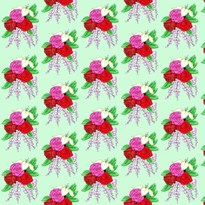 Bouquet of Roses- Light Green Background