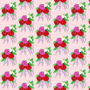 Bouquet of Roses- Pink Background