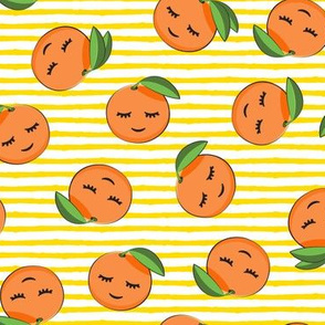 happy clementines on stripes (yellow)