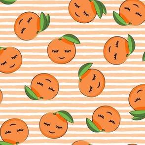 happy clementines on stripes (orange)