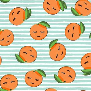 happy clementines on stripes (aqua)