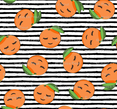 happy clementines on stripes (black)