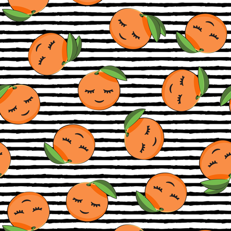 happy clementines on stripes (black) fabric by littlearrowdesign on Spoonflower - custom fabric
