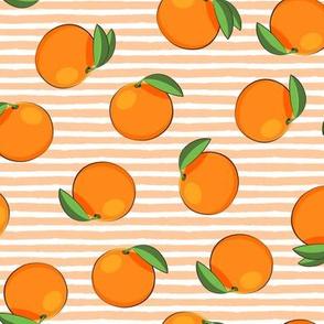 clementines on orange stripes - oranges summer citrus fabric