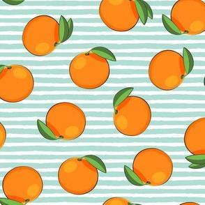clementines on aqua stripes - oranges summer citrus fabric