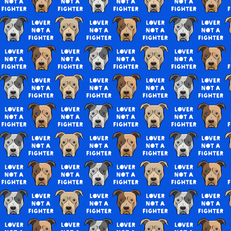 (small scale) lover not a fighter - pit bull on blue fabric by littlearrowdesign on Spoonflower - custom fabric