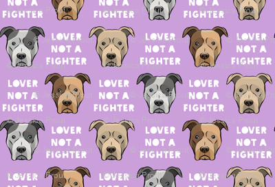 (small scale) lover not a fighter - pit bull on purple