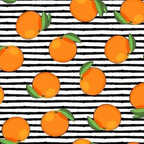 clementines on black stripes - oranges summer citrus fabric