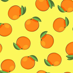 clementines on yellow - summer citrus fabric
