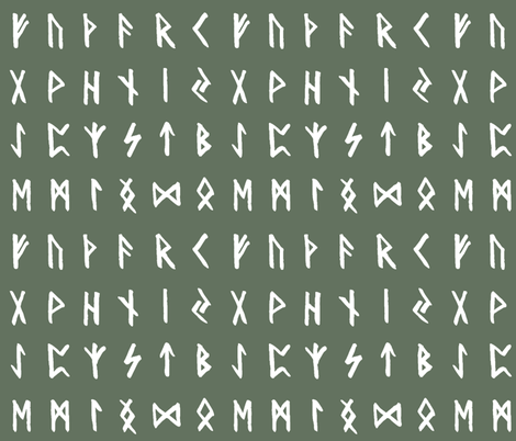 Nordic Runes on Finlandia Green // Large fabric by thinlinetextiles on Spoonflower - custom fabric