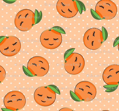 happy clementines on polka dots  (orange)