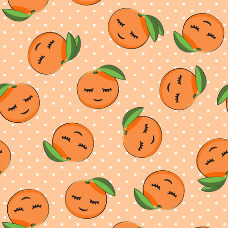 happy clementines on polka dots  (orange) fabric by littlearrowdesign on Spoonflower - custom fabric