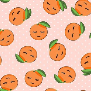 happy clementines on polka dots (pink)