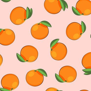 clementines on pink - orange fabric