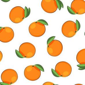 clementines on white - orange fabric