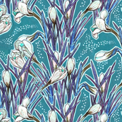 Crocuses, Turquoise & White, botanical floral