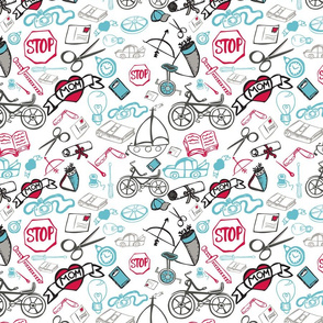 BYCICLES, CUTOUTS, BOW AND ARROW, RED, LIGHT BLUE, BLACK AND WHITE