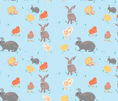 chicks and bunnies fabric by claireybean on Spoonflower - custom fabric