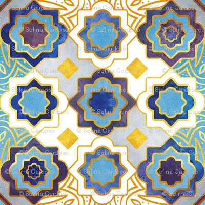 Marrakesh gold and indigo blue geometry inspiration