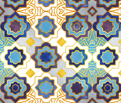 Marrakesh gold and indigo blue geometry inspiration fabric by selmacardoso on Spoonflower - custom fabric