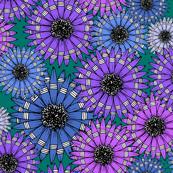 Blue and Purple Sketch Pop-Art Flowers Pattern
