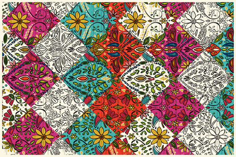 aziza patchwork tea towel fabric by scrummy on Spoonflower - custom fabric