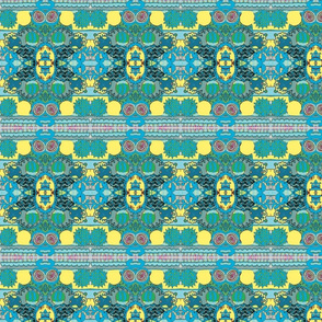 shades of teal with yellow