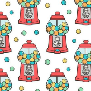 Bubble Gumball Machine Red on White
