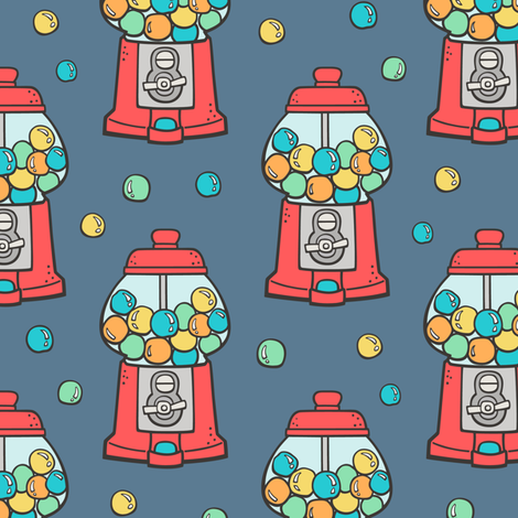 Bubble Gumball Machine Red on Dark Blue Navy fabric by caja_design on Spoonflower - custom fabric