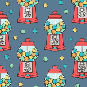 Bubble Gumball Machine Red on Dark Blue Navy