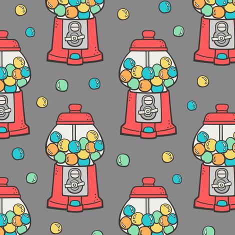 Bubble Gumball Machine Red on Dark Grey fabric by caja_design on Spoonflower - custom fabric