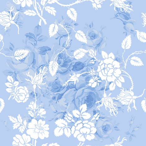 Lake Emily Summer Roses Rococo blueberry fabric by lilyoake on Spoonflower - custom fabric