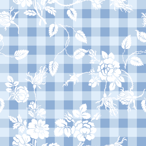 Gingham Rococo blueberry fabric by lilyoake on Spoonflower - custom fabric