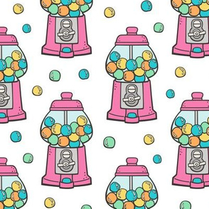Bubble Gumball Machine Pink on White