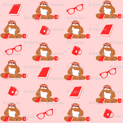 Cute Sloth and Books Pattern