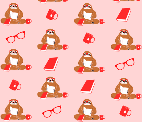 Cute Sloth and Books Pattern fabric by kapotka on Spoonflower - custom fabric