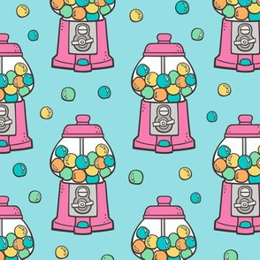 Bubble Gumball Machine Pink on Blue