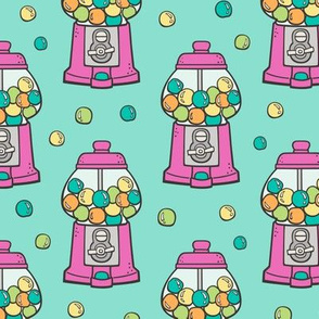 Bubble Gumball Machine Pink on Mint Green