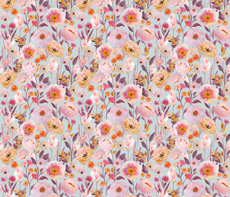 Indy Bloom Design Golden Lilac Garden C fabric by indybloomdesign on Spoonflower - custom fabric
