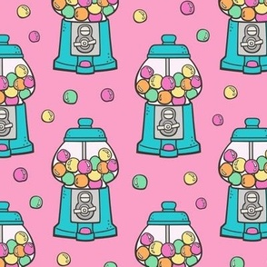 Bubble Gumball Machine Blue on Pink