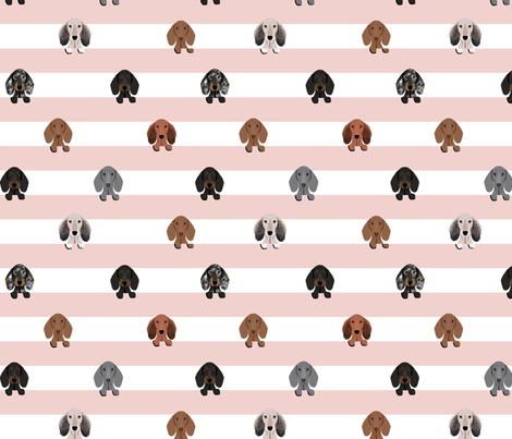 dachshund stripes dog breed fabric pink fabric by petfriendly on Spoonflower - custom fabric