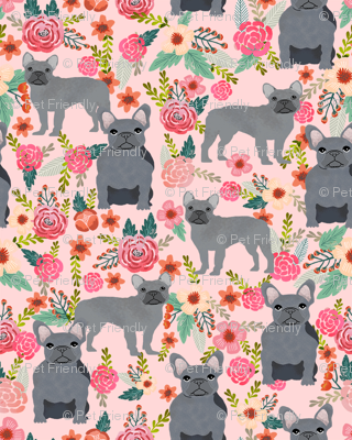 frenchie floral grey coat french bulldog fabric pink