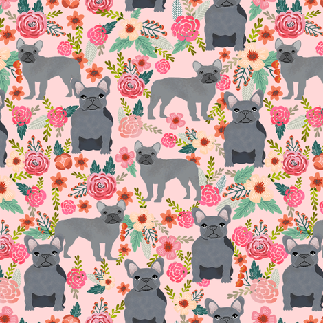frenchie floral grey coat french bulldog fabric pink fabric by petfriendly on Spoonflower - custom fabric