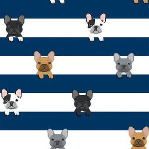 french bulldog stripes dog breed fabric navy