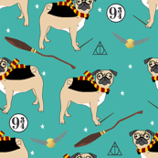 harry pugger witch wizard dog breed pug fabric teal