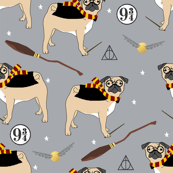 harry pugger witch wizard dog breed pug fabric grey