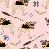 harry pugger witch wizard dog breed pug fabric pink