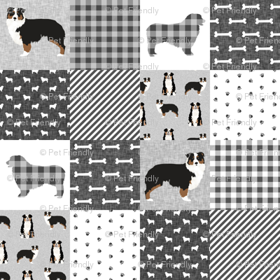 aussie tricolored cheater quilt grey and black